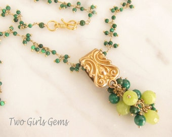 Antique pendant necklace ~ Malachite and Jade Necklace ~ Removable Pendant  ~ Two Girls Gems