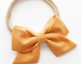 Sailor Baby Bow - Butterscotch Yellow Fabric Bow Headband or Clip - Butterscotch Folded Sailor Bow - Mustard Baby Bow Headband or Clip