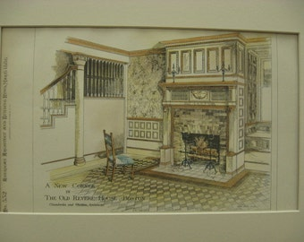 Old Revere House, Boston, Massachusetts, 1886, Chamberlin & Whidden, Architects. Hand Colored, Original Plan, Architecture, Vintage, Antique