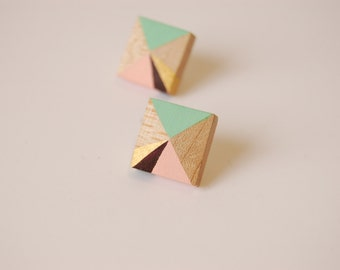 Geometric Wooden Earrings - Hand Painted