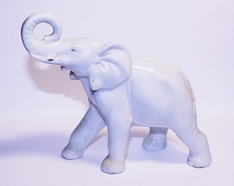 Vintage White Porcelain Elephant, Elephant Figure with Trunk Up, Lucky Elephant Figurine, Made in Japan Porcelian Animal