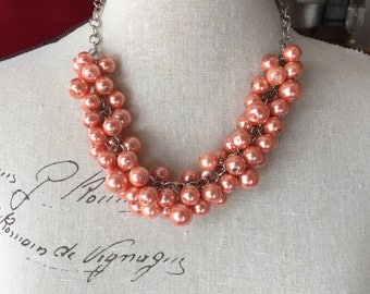 Chunky Pearl bridesmaid necklace in coral pearls, statement Pearl necklace