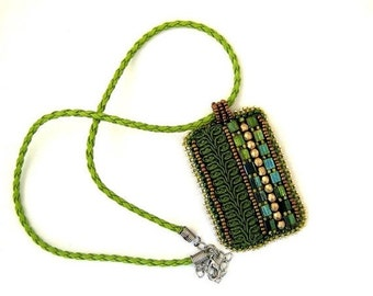 Christmas in July ON SALE Olive green necklace, Bead embroidered necklace, Green pendant, Beaded necklace,  Green necklace, Unique gifts for