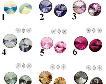 2 pcs Swarovski Crystal Rivoli 12mm
