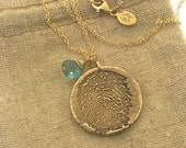 FINGERPRINT Bronze and 14k gold filled necklace made from JPEG fingerprint image, Gold Fingerprint jewelry, thumbprint, Gold Thumbprint