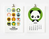 2016 Calendar, Cute Animal, Christmas Gift , New Year Gift, Nursery Art, Children Room Decor 4 x 6 or 5 x 7