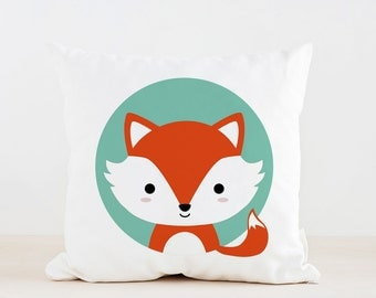 Animal Fox Nursery Pillow, Kids Pillow Cushion, Home decor, Children Room Decor