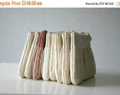 ON SALE set of 10 lace Bridesmaid pleated clutch Ruched bags  Choose your colour