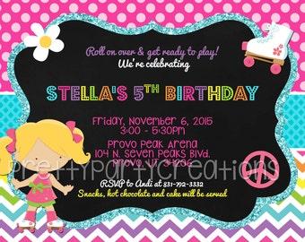 LITTLE ROLLER SKATER invitation - You Print - 3 girls to choose