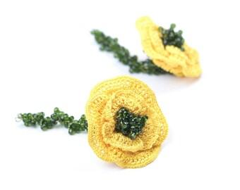 Earrings-Ethnic Handmade Crochet Long Dangle Rose Earrings, Crystal Beaded Earrings, Flower Earrings, Nonallergic Silicone Earrings Hooks