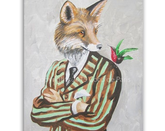 Woodland Fox painting on streched canvas, Fox with Bird,stripy, Fox on canvas, Acrylic Painting by Coco de Paris