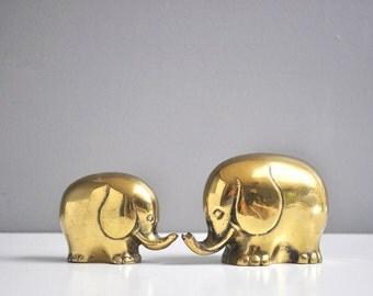 Vintage Brass Elephant Pair