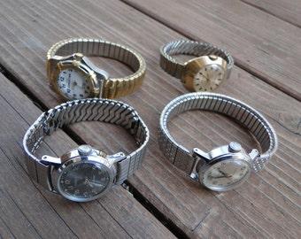 Lot of 4 vintage wrist watches steampunk repurpose design parts repair industrial