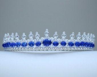Beautiful Blue Crystal Tiara. Something Blue Tiara, Birthday Tiara, Bridal Tiara, Flower Girl Tiara