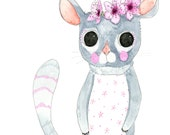 Illustration - Pen and Watercolour,  Blossom the Possum - Limited Edition Print by Jennie Deane