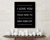 Holiday Gift, NYC Art, I Love You From Here To New York City, Shown in Black - Choose Color Canvas Frame, Free U.S. Shipping