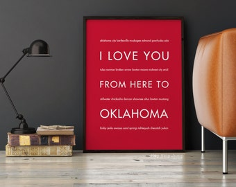 College Dorm Decor, Oklahoma State Poster Print, Gift Idea for Parents, Canvas Framed Travel Art, I Love You From Here To OKLAHOMA