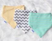 Gender neutral baby dribble bandanna bib set.Set of three dribble bibs.bandanna bib.Unisex.Aqua,Grey and yellow.Unisex baby gift.Dribble bib