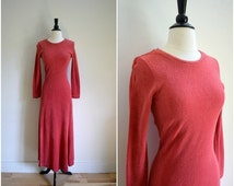 Summer Clearout Sale Vintage Betsey Johnson for Alley Cat coral terrycloth maxi dress / rare bohemian long sleeved designer dress with high