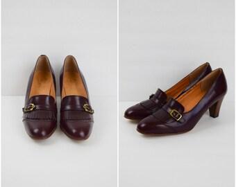 Vintage Etienne Aigner mahogany leather fringe shoes / buckle front pumps