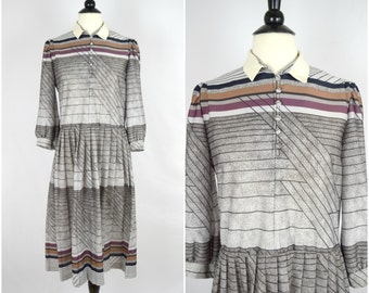 Vintage retro grey ombre abstract pattern dress / collared long sleeved dress
