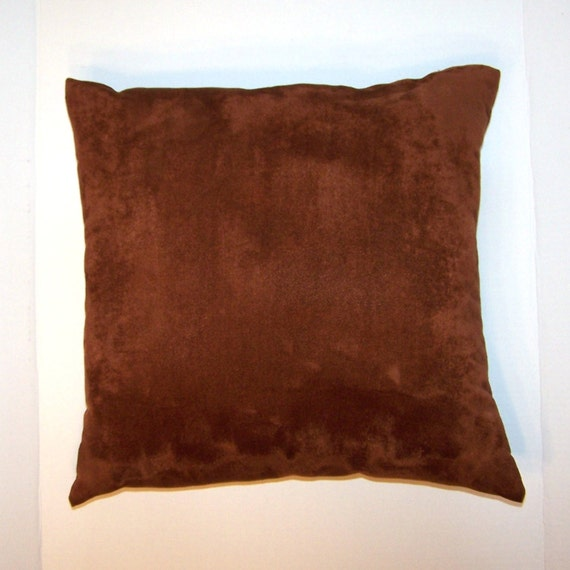 Pillows Throw Sofa Couch Suede Rust Brown Cinnamon 17 x 17