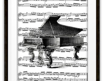 Antique Grand Piano Illustration Music Art Print, Home & Living, Home Decor, Pianist, Gift Ideas, Piano Player, Orchestra, Band, Dorm R