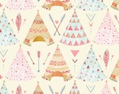 Fabric by the Yard - Dream Catcher White Tee Pee -  by Lucie Crovatto