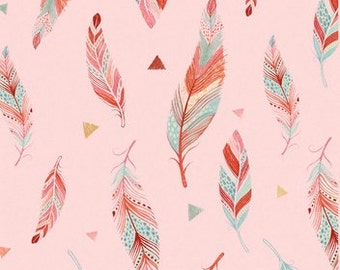 Fabric by the Yard - Dream Catcher Pink Feathers -  by Lucie Crovatto
