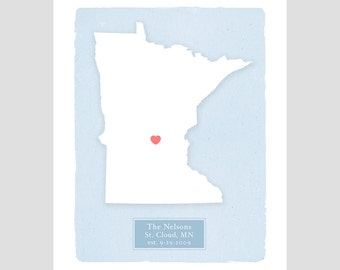 MINNESOTA - Personalized print - Home decor Custom text Wedding gift Bridal shower Housewarming gift  Larger size for wedding guest book