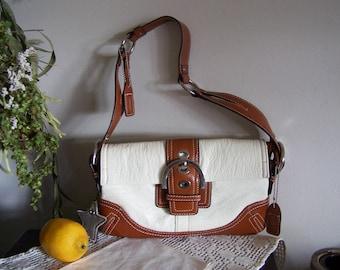 Older Designer Saddlebag Style White Pebble Leather Purse UNUSED = Coach ?