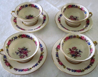 4 Vintage Castleton China Porcelain China Cups Saucers Manor Pattern Circa 1960