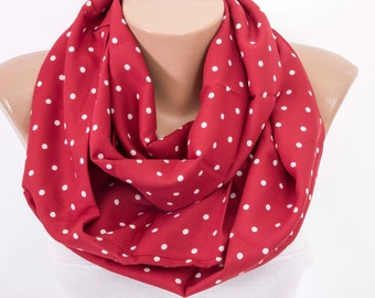 SALE -Loop scarf ,infinity scarf,deep red polka- dot scarf