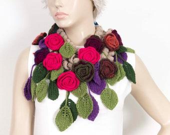 crochet scarf  crochet  lariat ,flower  crochet scarf,hot pink flower scarf