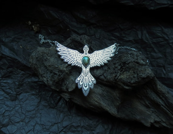 Phoenix Necklace Etched Flaming Bird Silver Turquoise