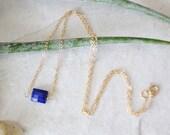 14k Solid Gold - Lapis lazuli petite minimalist necklace - pendant necklace