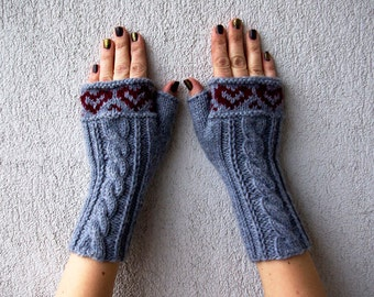 Knitted Fingerless Gloves, Light Grey, Gloves & Mittens, Heart, Fingerless glove mittens Hand-knitted Cabled / Wrist Warmers Mittens