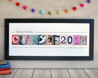 Class of 2016, FRAMED 10x24 Alphabet Photography Name Print,  graduation gift 2016