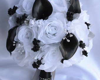 """17 Piece Package Wedding Bridal Bouquet Silk Flowers Bouquets Real Touch Calla Lily BLACK WHITE SILVER Pearl Spray """"Lily of Angeles WTBK05"""