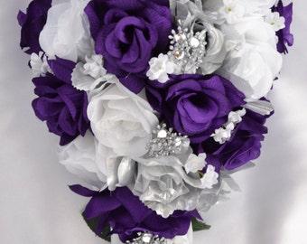 "17 Piece Package Bridal Bouquet Wedding Bouquets Silk Flowers Bride Cascade Teardrop PURPLE SILVER WHITE Jewels ""Lily of Angeles"" PUSI01"
