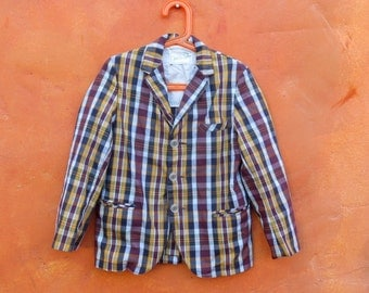 Vintage 1950s 1960s Boy's Plaid Suit coat. Sportcoat. Jacket. Sport Coat Blazer. Single breasted. 3 Button Size 7/8