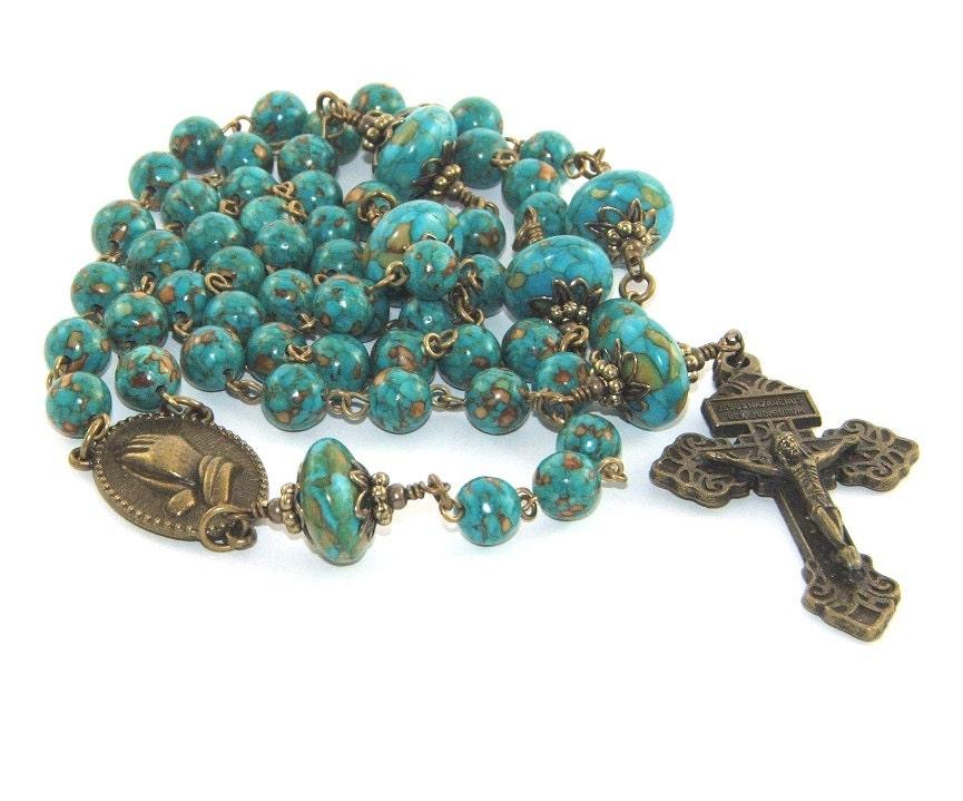 Catholic Rosary Blue Turquoise Mosaic Stone Brass Pardon