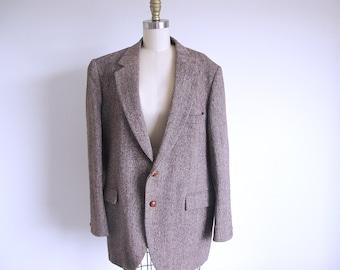 Vintage Harris Tweed Blazer, Men's Brown Jacket, 80s Tweed Coat