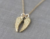 Gold Angel Wings Necklace / Inspirational Jewelry / Gift for Women / 24K Gold Vermeil Wings on 14K Gold Filled Chain