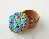 Christmas SALE TO ORDER Only Blue Turquoise Flower Ring Box Wooden Round Decorated Engagement Ring Holder Ring Case Wedding Bridal Christmas