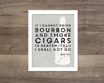Bourbon and Cigar Wall Art Poster Print Drink Bourbon Typography Poster Cigar White Gray Art Print Mad Men Husband Fathers Day Man Cave