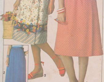 """1970's Sewing Pattern Women's Front Wrap Skirt Knee or Full Length Waistband Size 14-16 Waist 28-30"""" McCall's 3613"""
