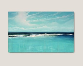 Original Painting, Seascape, Beach Painting, Ocean Art, Coastal Decor, Blue Painting, Abstract Landscape, Large Canvas by Ron Beller