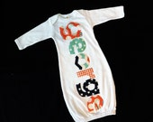 Funky baby gift - Infant gown, personalized sleeper gown sleep sack, coral and navy blue stars, houndstooth name applique bring baby home