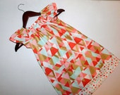 New coral, turquoise, metallic gold geometric aztec designer fabric peasant dress with  pocket, border baby, toddler, girls, tweens  6m - 12